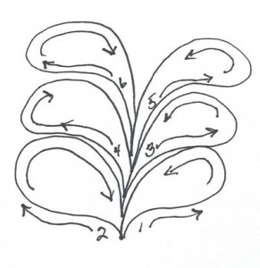 diagram of stitching order for free motion quilting  free form feathers