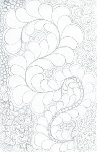 a picture of a quilting feather design doodled on paper