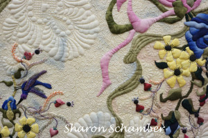 a picute of free motion quilting and  turned edge applique!