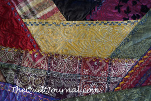 picture of free motion quilting on crazy quilt