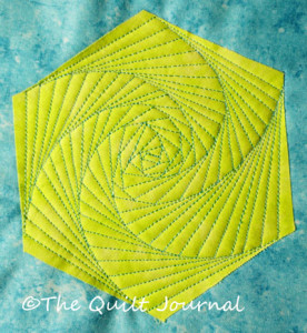 a picture of a hexagon quilted using free motion quilting twisted design