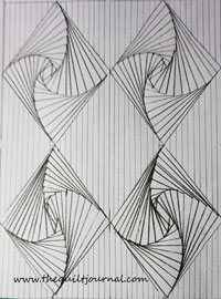 a picture of a drawing of twisted diamonds with a fine line fill pattern in-between diamonds