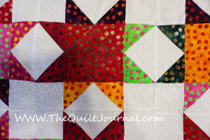 picture of free motion quilting on batik fabric
