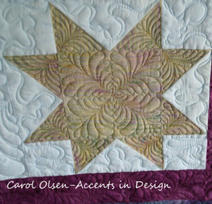 Picture of a feathered free motion quilt design in a star