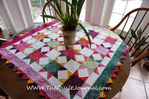 Picture of finished batik atble topper on my kitchen table