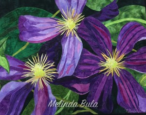 Up close picture of The Clematis Quilt by Melinda Bula