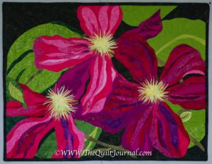 a picture of my thread painted clematis quilt