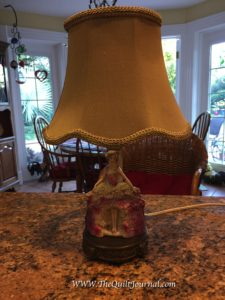 finished silk lampshade sewing project